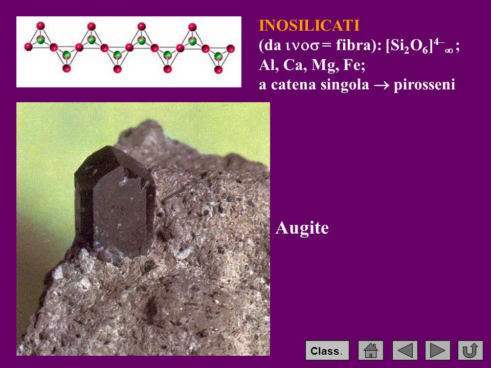 Augite INOSILICATI (da  = fibra): [Si2O6]4– ; Al, Ca, Mg, Fe;